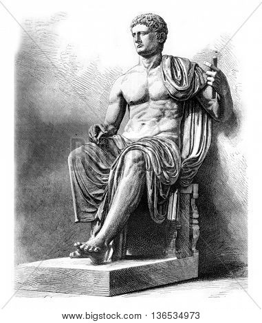 Statue of Claude found these in Herculaneum and Retained at the Museum of Naples, vintage engraved illustration. Magasin Pittoresque 1861.
