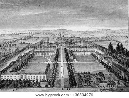 View of the Community of the Moravian brothers, in Zeist, near Utrecht, Netherland, vintage engraved illustration. Magasin Pittoresque 1861.