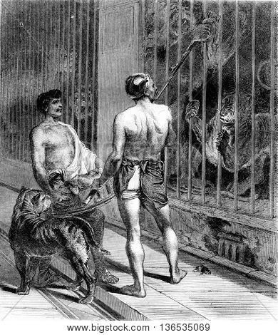 1861 Exhibition of Painting. The Gladiator, vintage engraved illustration. Magasin Pittoresque 1861.