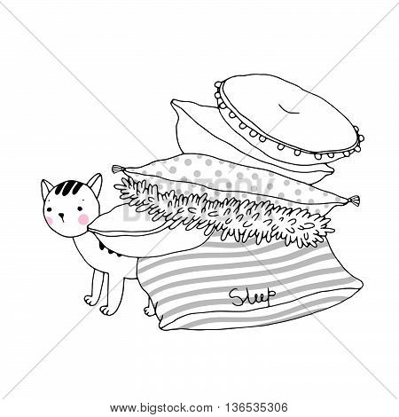 Beautiful pillows and cat on a white background.