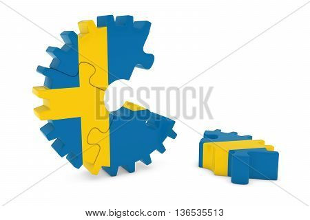 Swedish Flag Gear Puzzle With Piece On Floor 3D Illustration