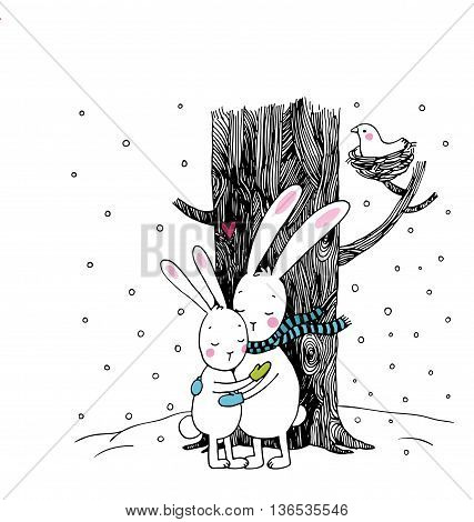 Cute cartoon hares. Winter. Hand drawing isolated objects on white background. Vector illustration. Text