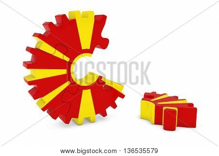 Macedonian Flag Gear Puzzle With Piece On Floor 3D Illustration