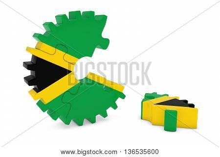Jamaican Flag Gear Puzzle With Piece On Floor 3D Illustration