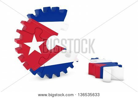 Cuban Flag Gear Puzzle With Piece On Floor 3D Illustration
