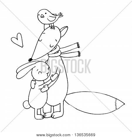 Fox, rabbit, bird and tree. Winter. Hand drawing isolated objects on white background. Vector illustration. Text Valentine s Day