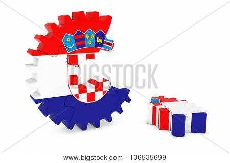 Croatian Flag Gear Puzzle With Piece On Floor 3D Illustration