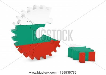 Bulgarian Flag Gear Puzzle With Piece On Floor 3D Illustration