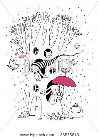 Magic Tree, rabbits and birds.Animals of the forest. Hand drawing isolated objects on white background. Vector illustration.