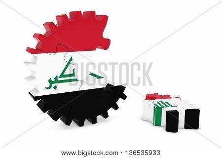 Iraqi Flag Gear Puzzle With Piece On Floor 3D Illustration