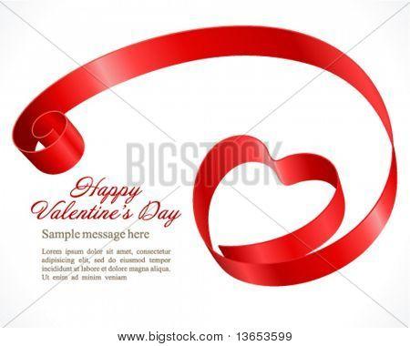 Corazón de cinta fondo de vector de día de San Valentín