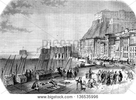 Quay Saint Lucia, Naples, vintage engraved illustration. Magasin Pittoresque 1861.