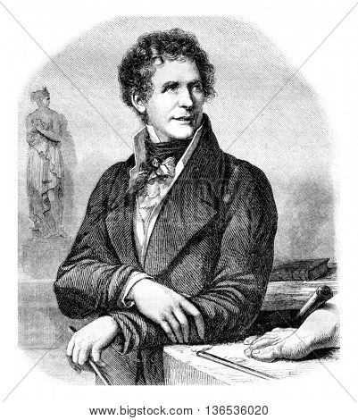 Musee de Montpellier. Portrait of Canova, vintage engraved illustration. Magasin Pittoresque 1861.