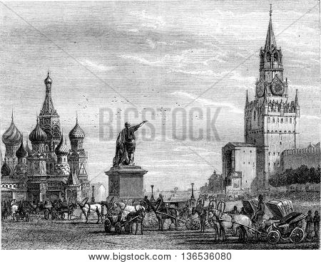 Krasnaya Red Square and the monument to Minin and Pajearski in Moscow, vintage engraved illustration. Magasin Pittoresque 1861.