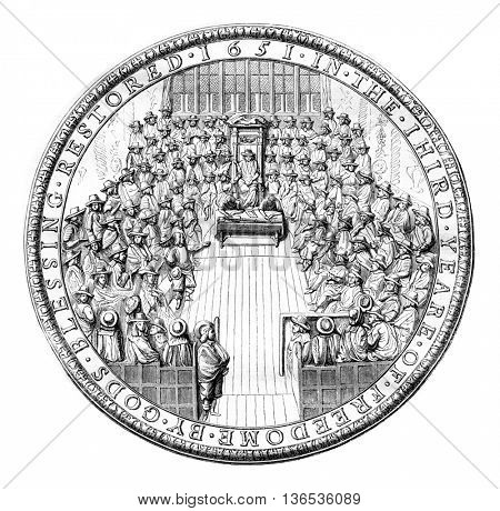 Seal of the English republic, 1651, vintage engraved illustration. Magasin Pittoresque 1861.