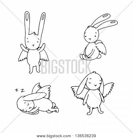 Set of cute rabbits with wings. Hand drawing isolated objects on white background. Vector illustration.