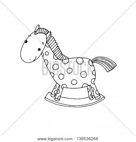Horse Kids toys. Hand drawn vector illustration on a white background.