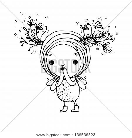 Cute little fairy. Hand drawn vector on a white background. Coloring book.