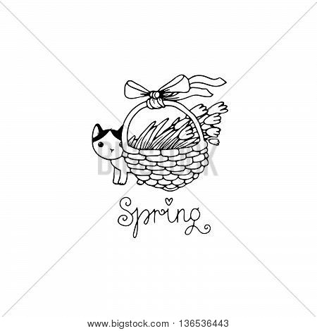 Cute little spotted cat. Flowers in a basket. Spring text. Hand drawing isolated objects on white background. Vector illustration.