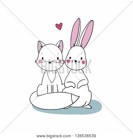 Cute cartoon fox and hare. Hand drawing isolated objects on white background. Vector illustration.