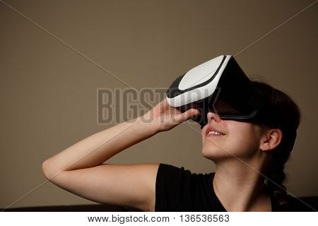 Woman with glasses of virtual reality, VR glasses concept