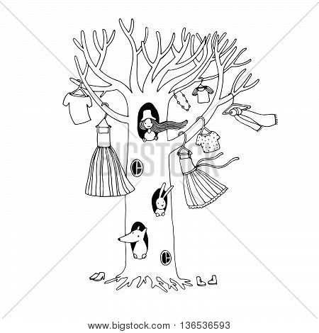 Magic tree with clothes. The fox, hare and the girl. Hand drawing isolated objects on white background. Vector illustration.