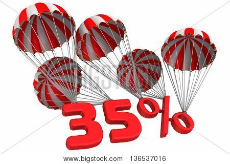 Thirty five percent is falling down on parachute. Isolated. 3D Illustration
