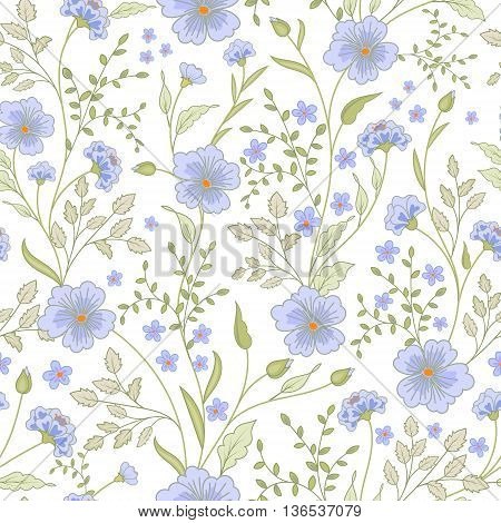 vector seamless cute little flower pattern. Spring summer background. Holidays mood. Gentle romantic childish print. Pastel blue green.
