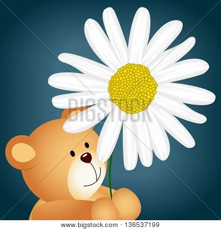 Scalable vectorial image representing a teddy bear with daisy background, isolated on white.