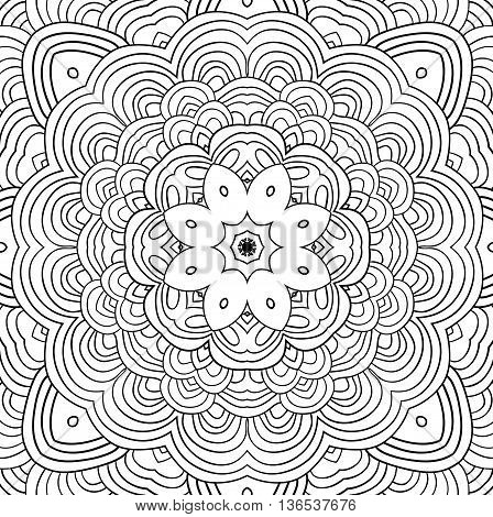 Vector uncolored pattern for backgroung or coloring page