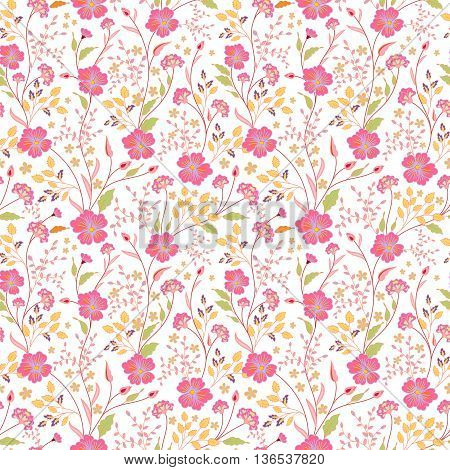 vector seamless cute little flower pattern. Spring summer background. Holidays mood. Gentle romantic childish print. Bright pink on white backdrop.