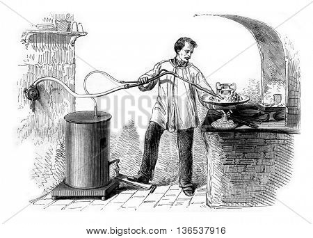 Gas torch used in large workshops, vintage engraved illustration. Magasin Pittoresque 1861.