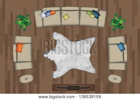 Sofas Armchair Set. Furniture, Pouf, Carpet, TV, Plants, Side Table for Your Interior Design. Flat Vector Illustration. Top View. Scene Creator.Grey color Lounge with Colorful Pillows. TV, Pouf, White Bear Pelt