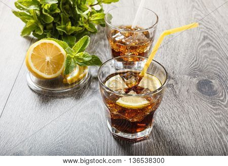 The Cooling Drink With Ice, Lemon And Mint.