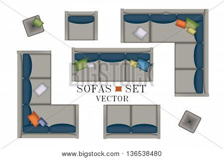 Sofas Armchair Set. Furniture, Pouf, Carpet, TV, Plants, Side Table for Your Interior Design. Flat Vector Illustration. Top View. Scene Creator. Grey color Lounge with Colorful Pillows 2