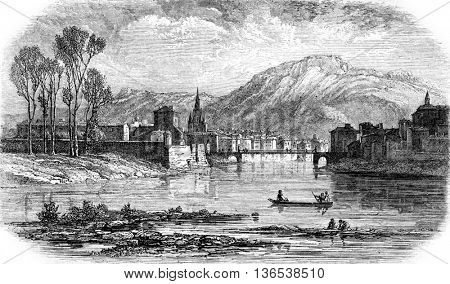 Grenoble, vintage engraved illustration. Magasin Pittoresque 1861.