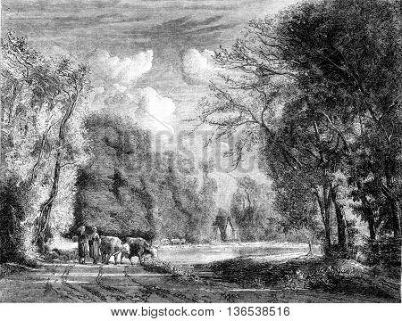 1861 Exhibition of Painting. Route Waben Berck, Pas de Calais, vintage engraved illustration. Magasin Pittoresque 1861.