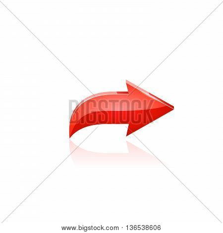 Red arrow. Vector illustration on white background.