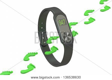 activity tracker or fitness bracelet pedometer concept. 3D rendering isolated on white background