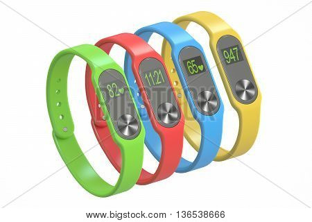 set of activity trackers or fitness bracelets 3D rendering isolated on white background