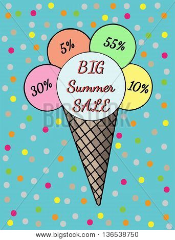 Inscription Big summer sale Ice cream with bright colorful circle. Cold dessert illustration on the blue background.