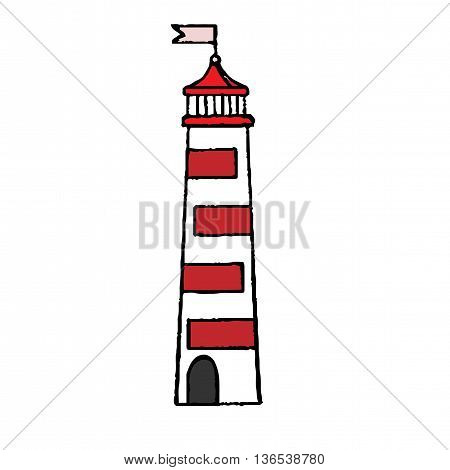 Lighthouse with red bars and little flag isolated on the white background