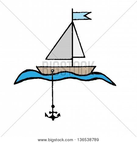 Little boat with a flag anchor and waves isolated on the white background