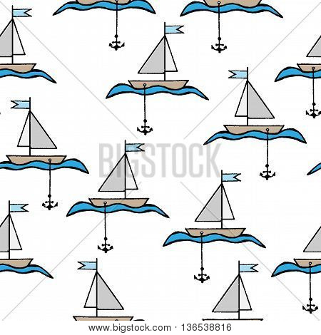 Seamless with little boat with a flag anchor and waves isolated on the white background