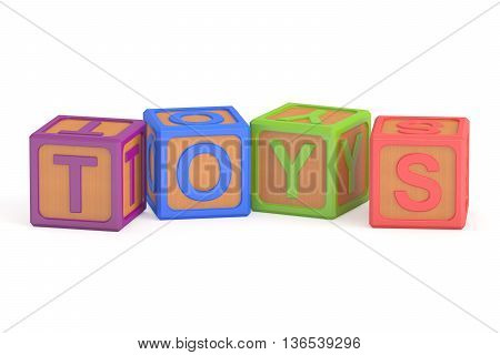 Toy cubes toys concept. 3D rendering isolated on white background