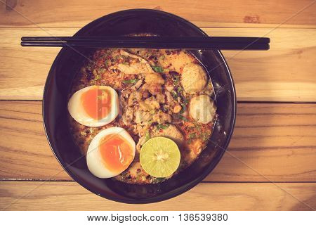 Thai Noodle Soup In A Bowl Taste Spicy Noodle Soup And Boiled Egg Vintage Color