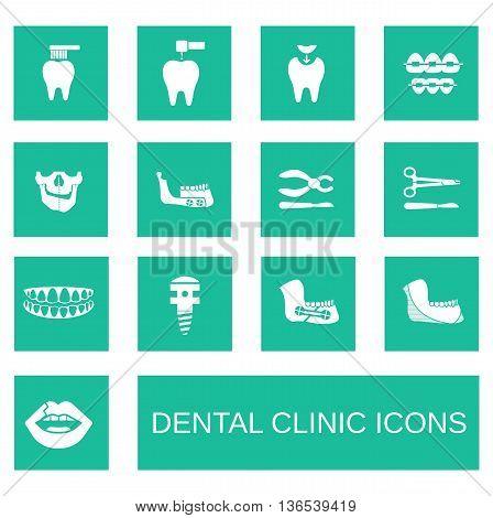 Flat icons collection of dental services. Maxillofacial Surgery.