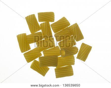 tortiglioni pasta on the white background