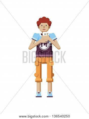 Stock vector illustration isolated of European redhead man with freckles in short orange pants, man with smartphone in hand, man looking into screen of phone, T-shirt in flat style on white background