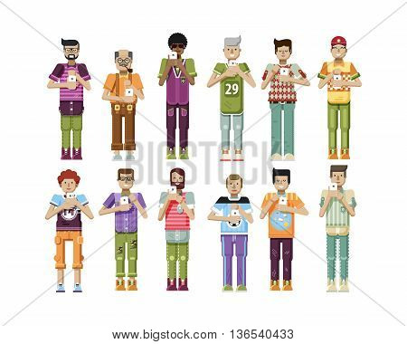 Stock vector illustration isolated set of men with smartphone in hands, men looking into screen of phone, mens sportswear comfortable clothes in flat style on white background